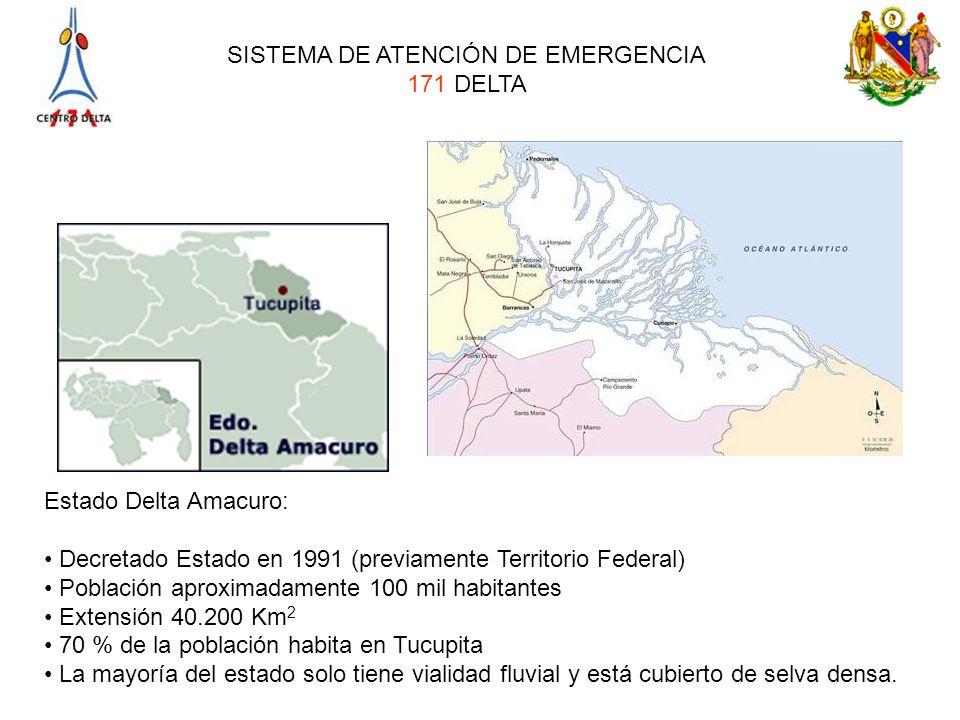 Estado Delta Amacuro: Decretado Estado en 1991 (previamente Territorio Federal) Población aproximadamente 100 mil habitantes.