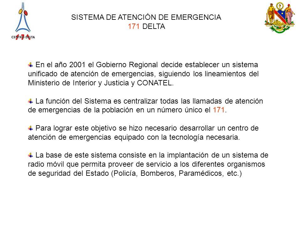 En el año 2001 el Gobierno Regional decide establecer un sistema unificado de atención de emergencias, siguiendo los lineamientos del Ministerio de Interior y Justicia y CONATEL.