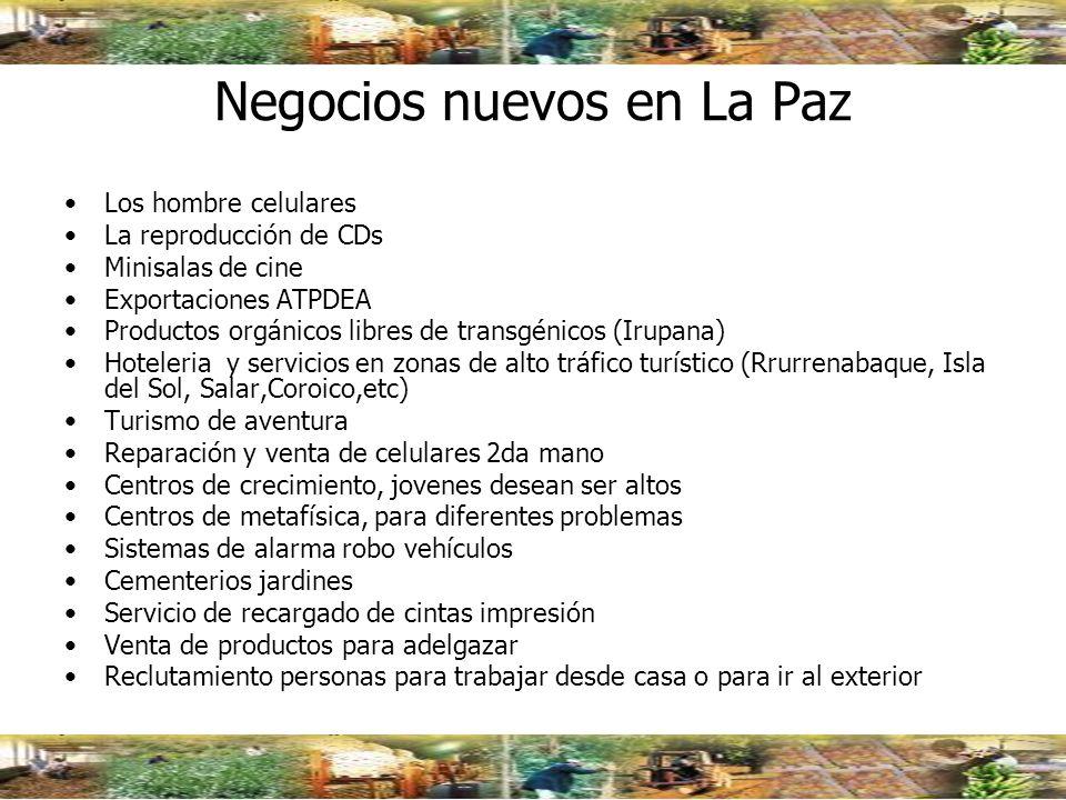 Negocios nuevos en La Paz
