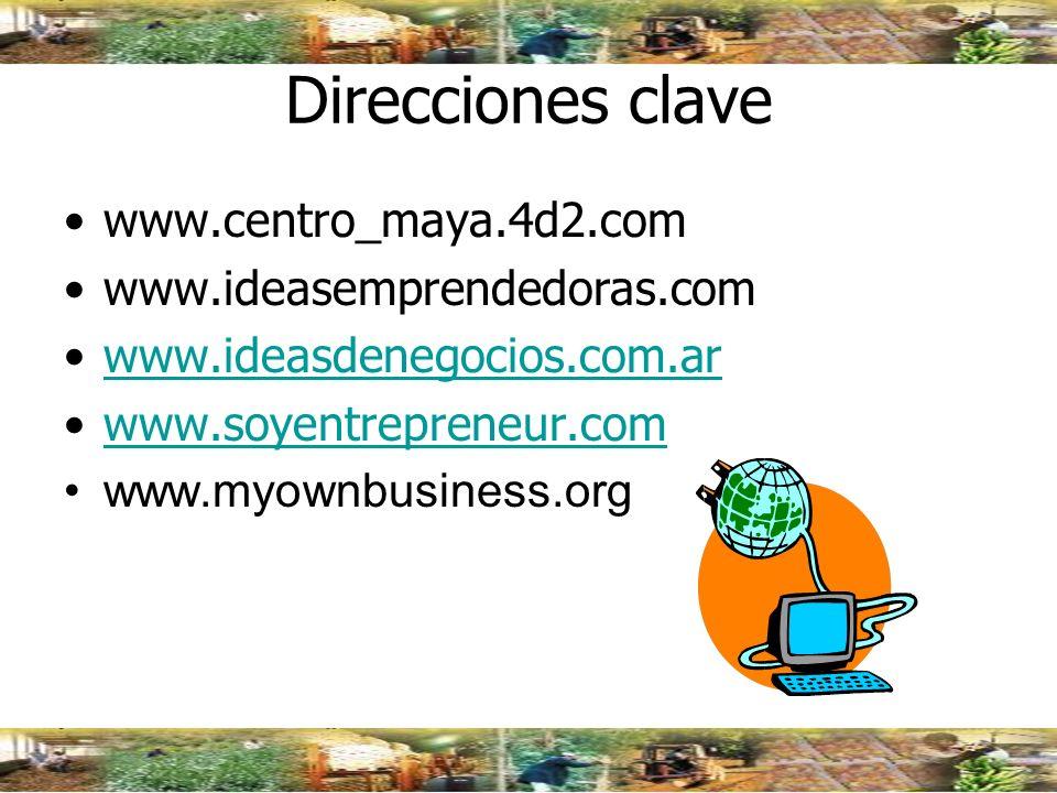 Direcciones clave www.centro_maya.4d2.com www.ideasemprendedoras.com