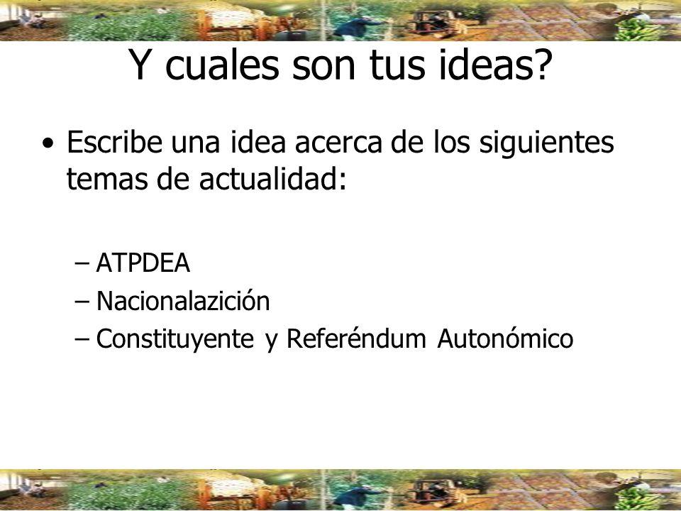 Y cuales son tus ideas Escribe una idea acerca de los siguientes temas de actualidad: ATPDEA. Nacionalazición.