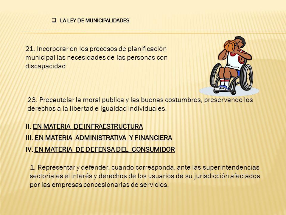 II. EN MATERIA DE INFRAESTRUCTURA