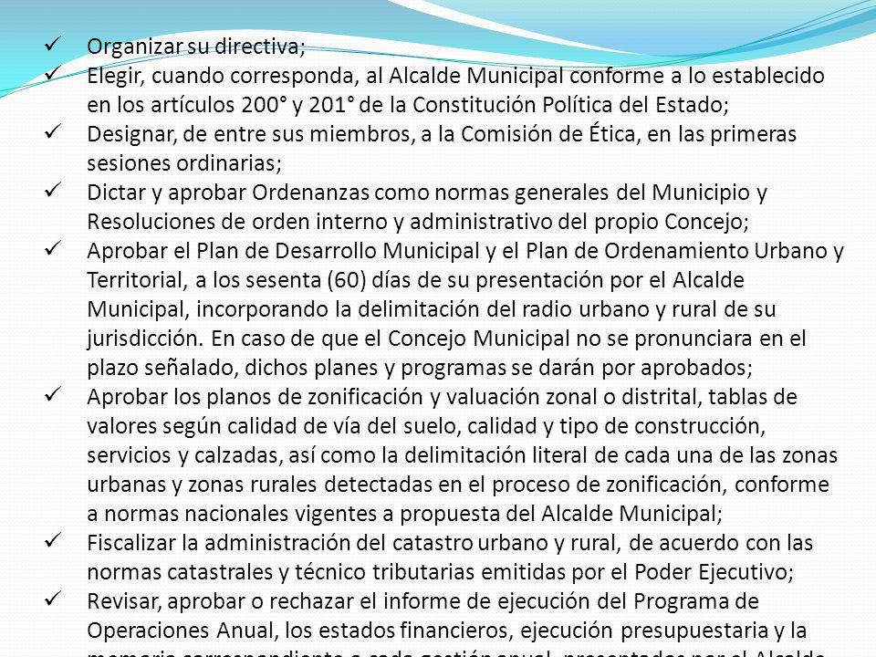 Organizar su directiva;