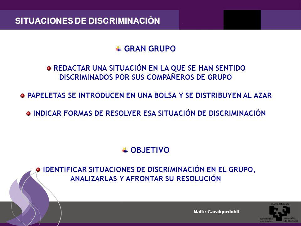 SITUACIONES DE DISCRIMINACIÓN