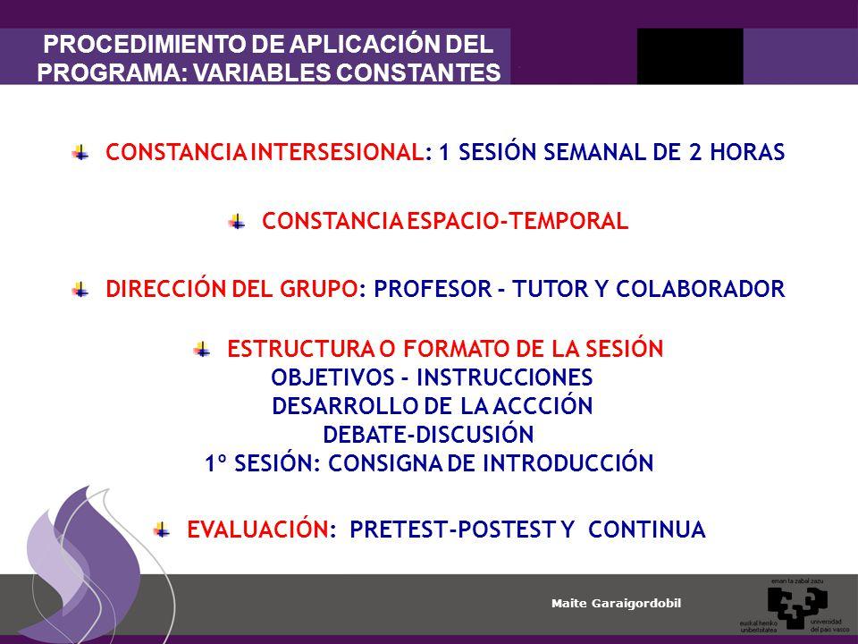 PROCEDIMIENTO DE APLICACIÓN DEL PROGRAMA: VARIABLES CONSTANTES