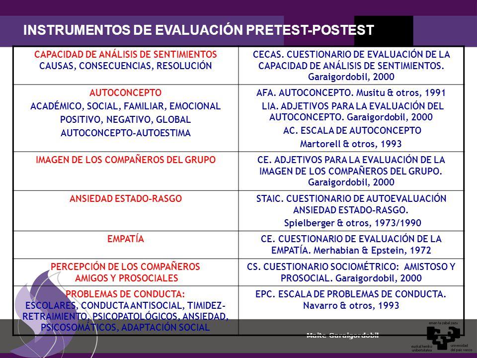 INSTRUMENTOS DE EVALUACIÓN PRETEST-POSTEST