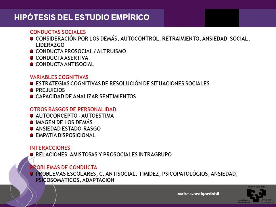 HIPÓTESIS DEL ESTUDIO EMPÍRICO
