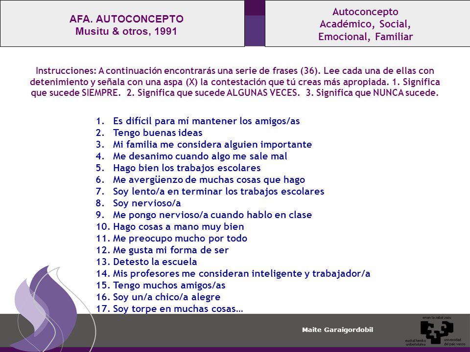 Autoconcepto AFA. AUTOCONCEPTO Académico, Social, Musitu & otros, 1991