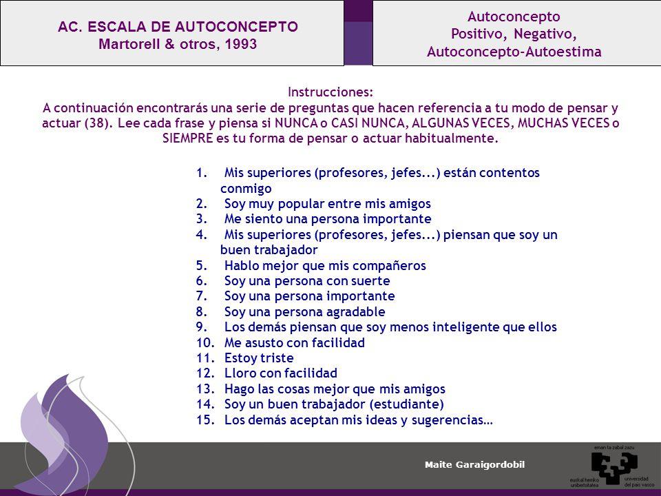 Autoconcepto-Autoestima AC. ESCALA DE AUTOCONCEPTO