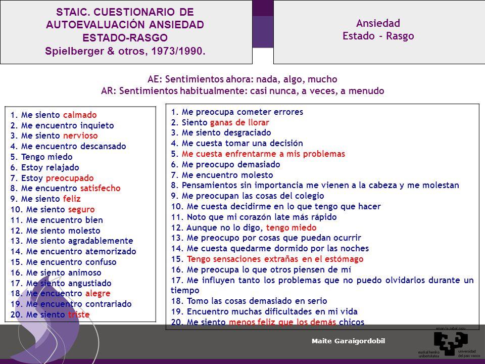 STAIC. CUESTIONARIO DE AUTOEVALUACIÓN ANSIEDAD