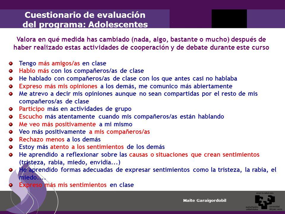 Cuestionario de evaluación del programa: Adolescentes