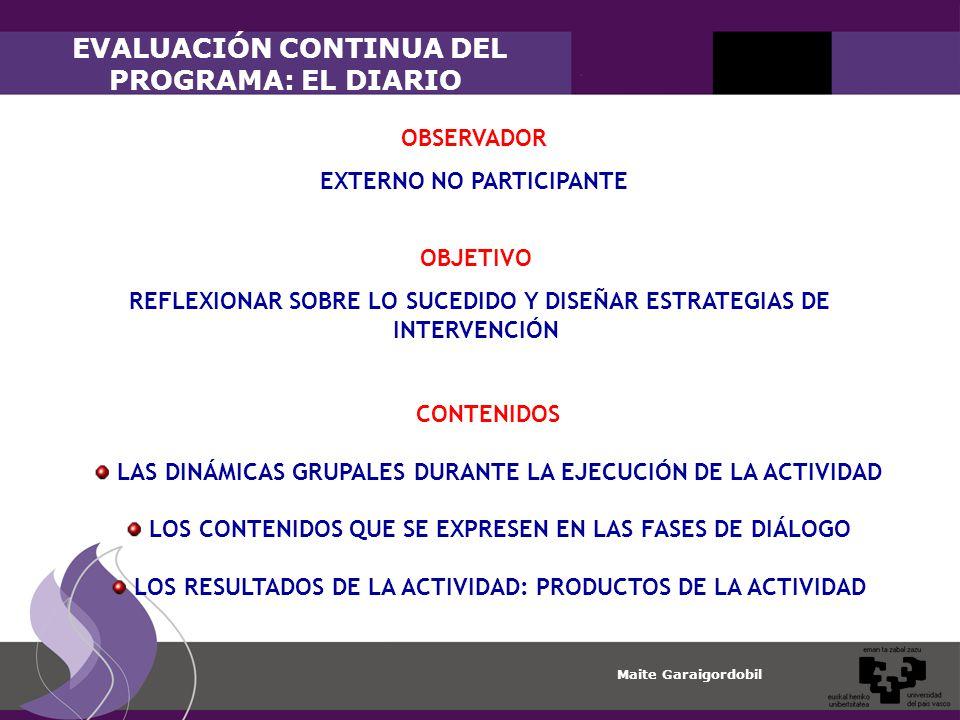 EVALUACIÓN CONTINUA DEL PROGRAMA: EL DIARIO