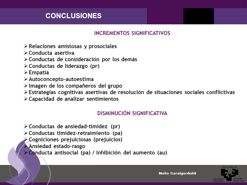 INCREMENTOS SIGNIFICATIVOS DISMINUCIÓN SIGNIFICATIVA