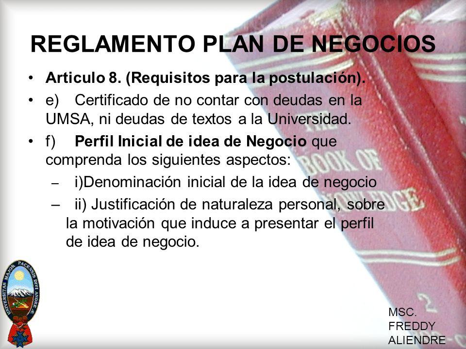 REGLAMENTO PLAN DE NEGOCIOS