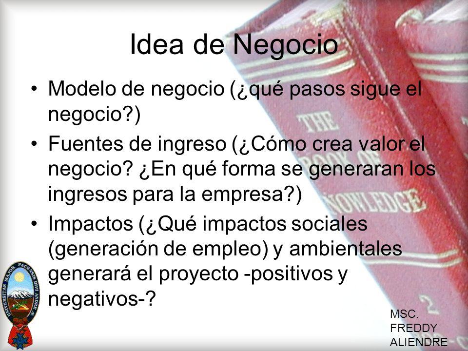 Idea de Negocio Modelo de negocio (¿qué pasos sigue el negocio )