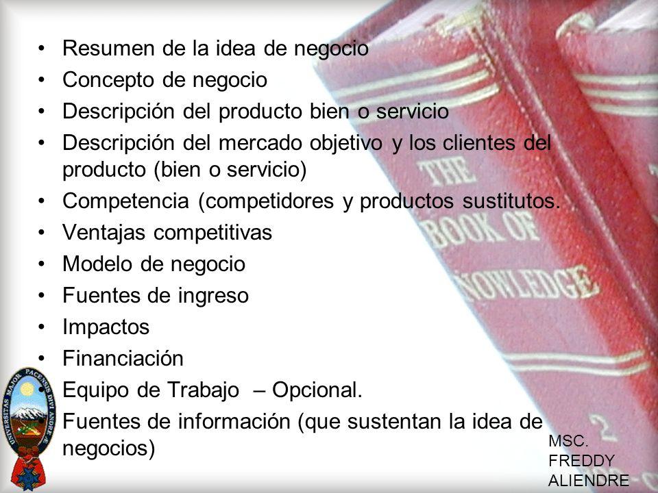Resumen de la idea de negocio