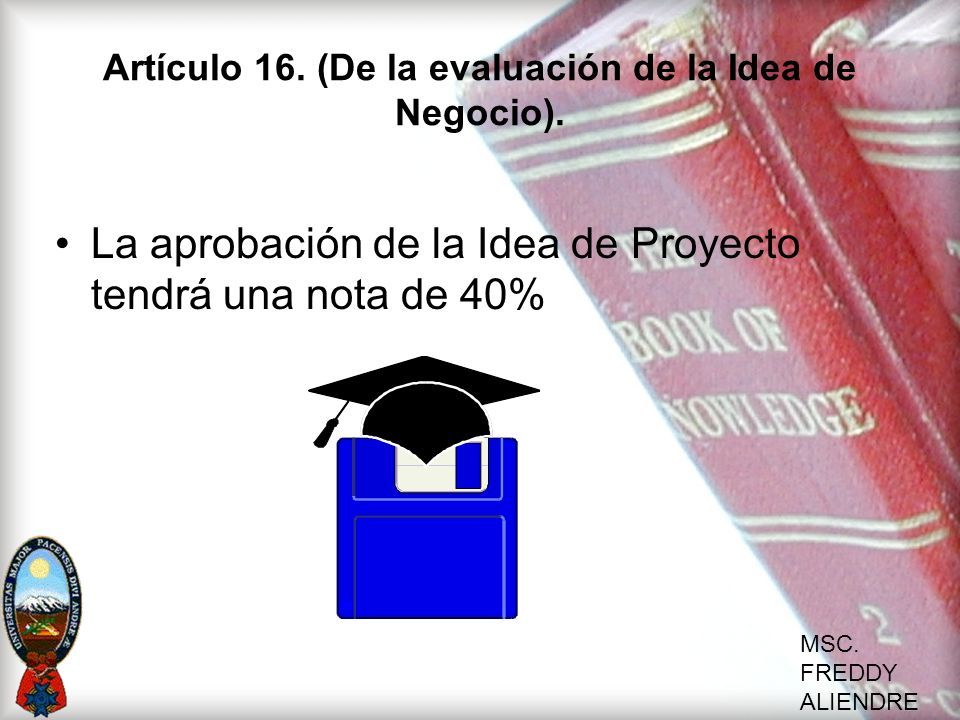 Artículo 16. (De la evaluación de la Idea de Negocio).
