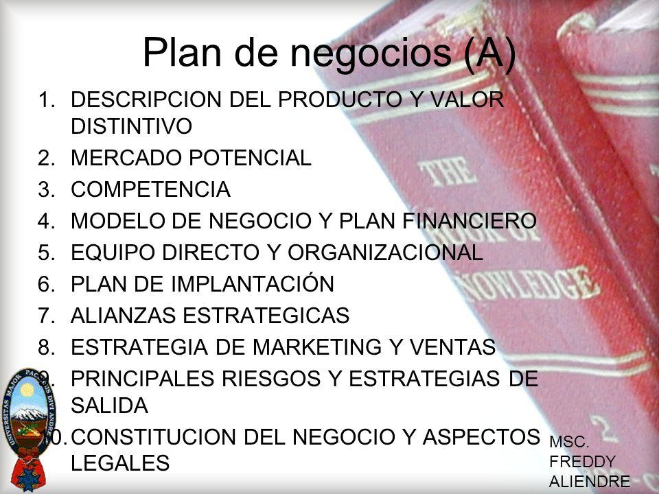 Plan de negocios (A) DESCRIPCION DEL PRODUCTO Y VALOR DISTINTIVO
