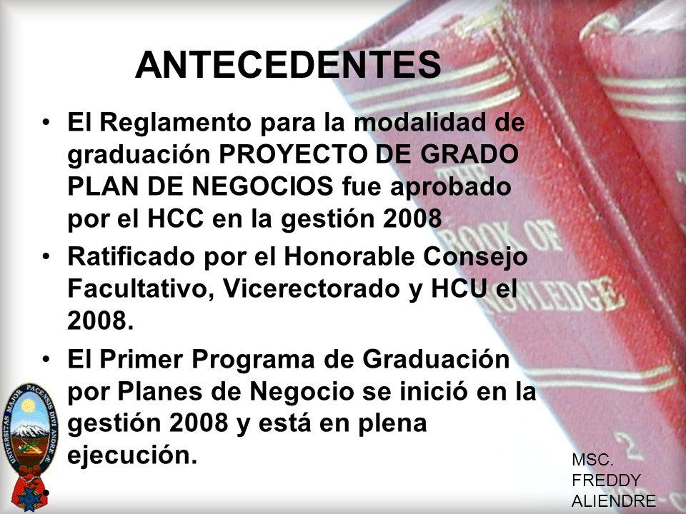 ANTECEDENTES El Reglamento para la modalidad de graduación PROYECTO DE GRADO PLAN DE NEGOCIOS fue aprobado por el HCC en la gestión 2008.