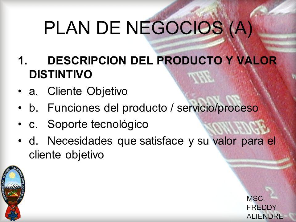 PLAN DE NEGOCIOS (A) 1. DESCRIPCION DEL PRODUCTO Y VALOR DISTINTIVO