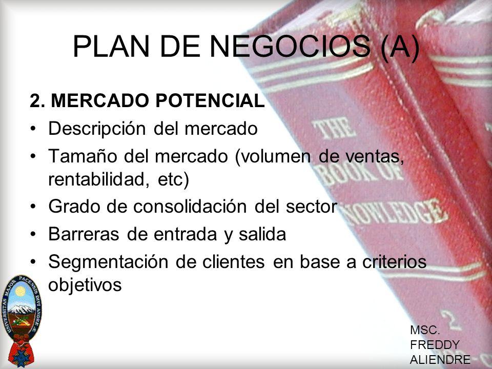 PLAN DE NEGOCIOS (A) 2. MERCADO POTENCIAL Descripción del mercado