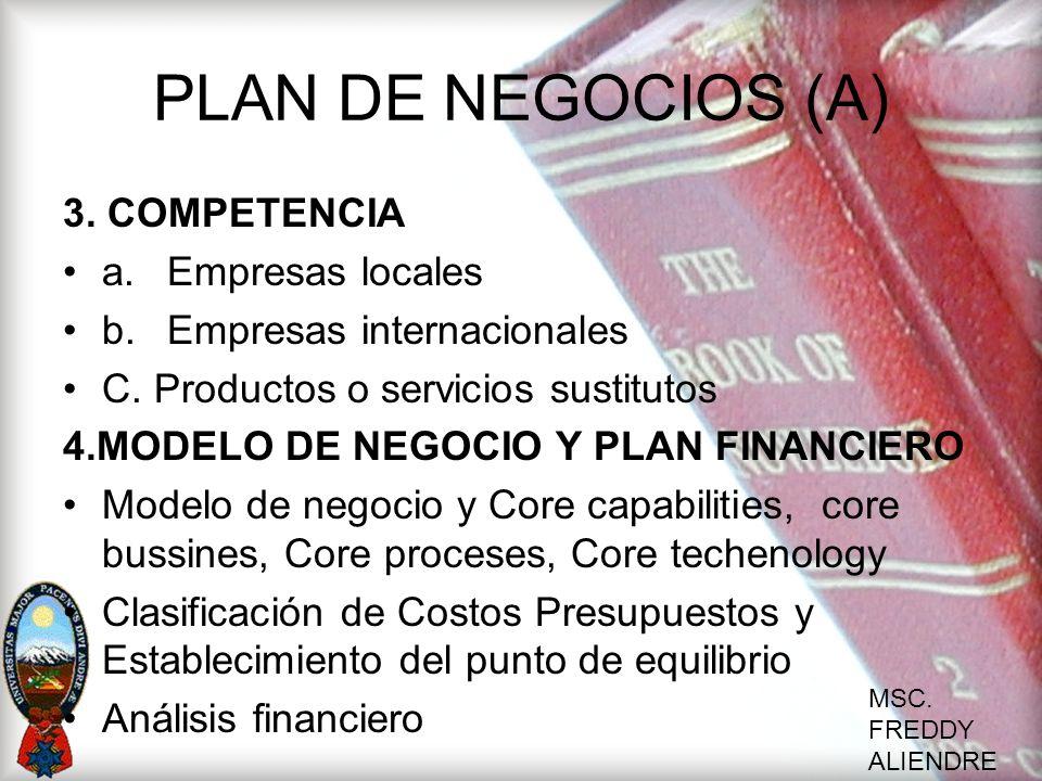 PLAN DE NEGOCIOS (A) 3. COMPETENCIA a. Empresas locales