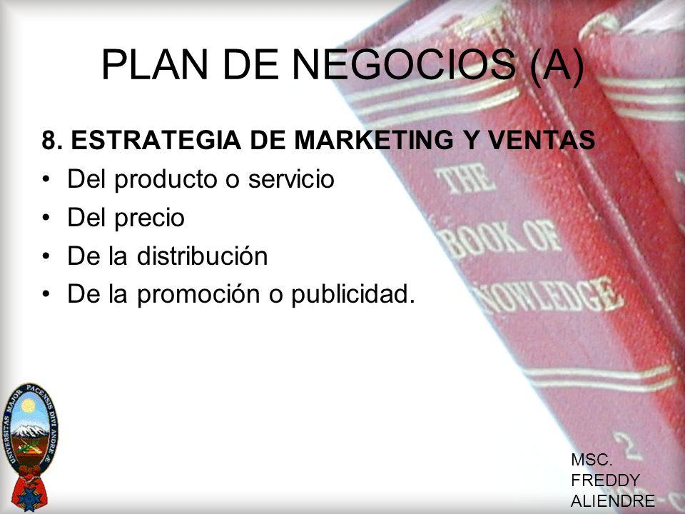 PLAN DE NEGOCIOS (A) 8. ESTRATEGIA DE MARKETING Y VENTAS