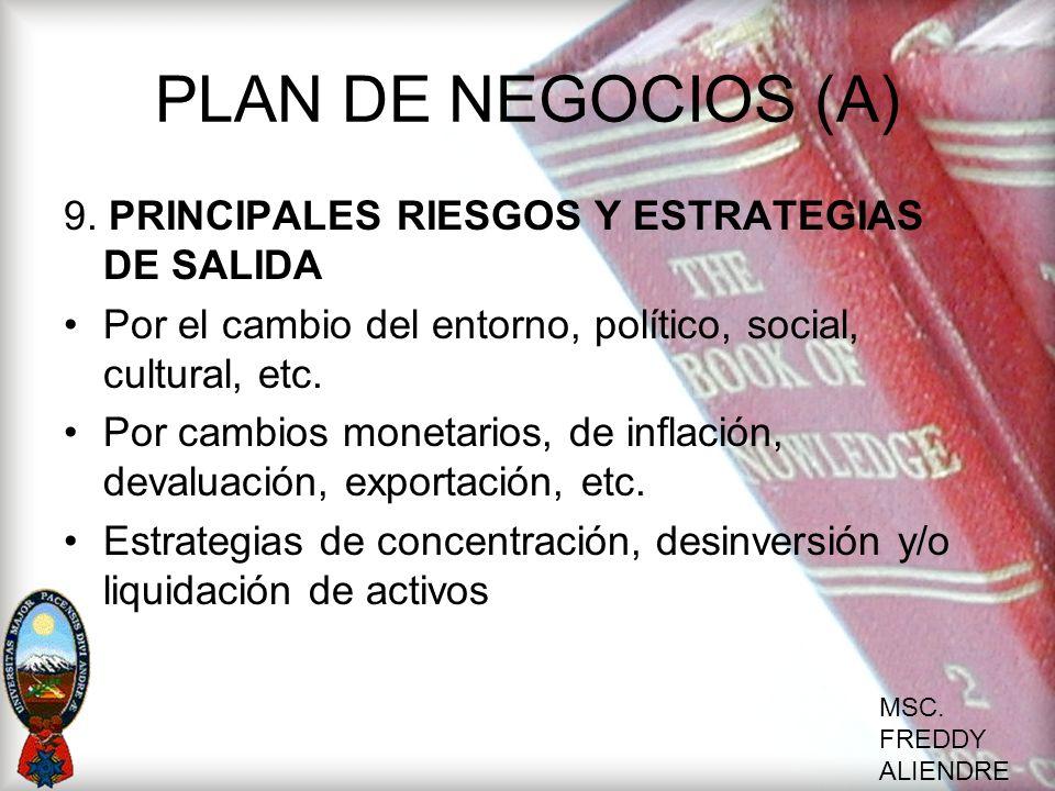 PLAN DE NEGOCIOS (A) 9. PRINCIPALES RIESGOS Y ESTRATEGIAS DE SALIDA