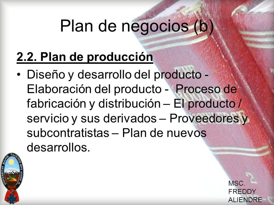 Plan de negocios (b) 2.2. Plan de producción