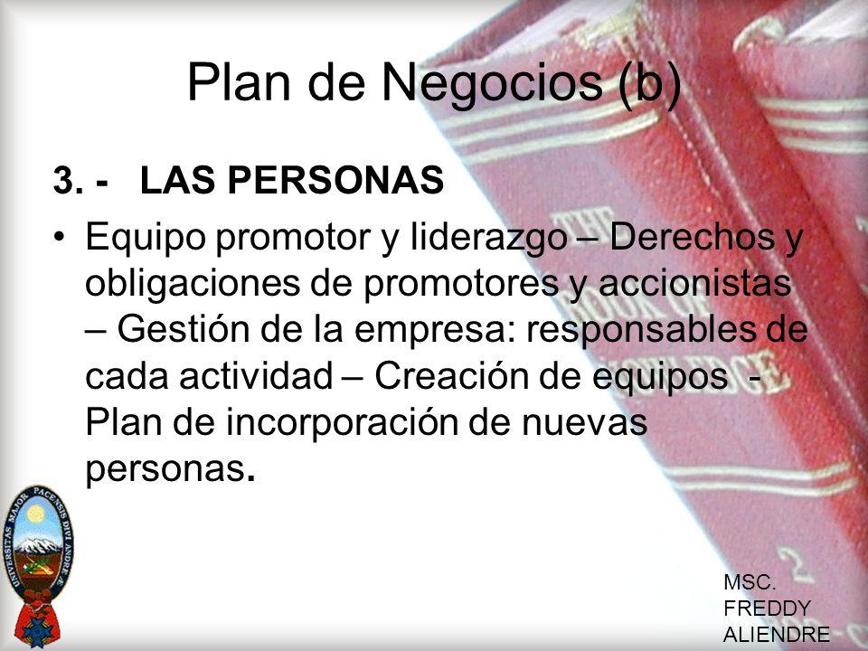 Plan de Negocios (b) 3. - LAS PERSONAS