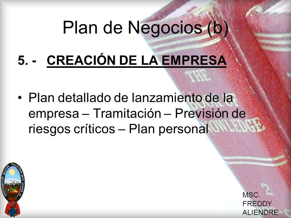 Plan de Negocios (b) 5. - CREACIÓN DE LA EMPRESA