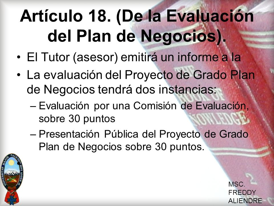 Artículo 18. (De la Evaluación del Plan de Negocios).