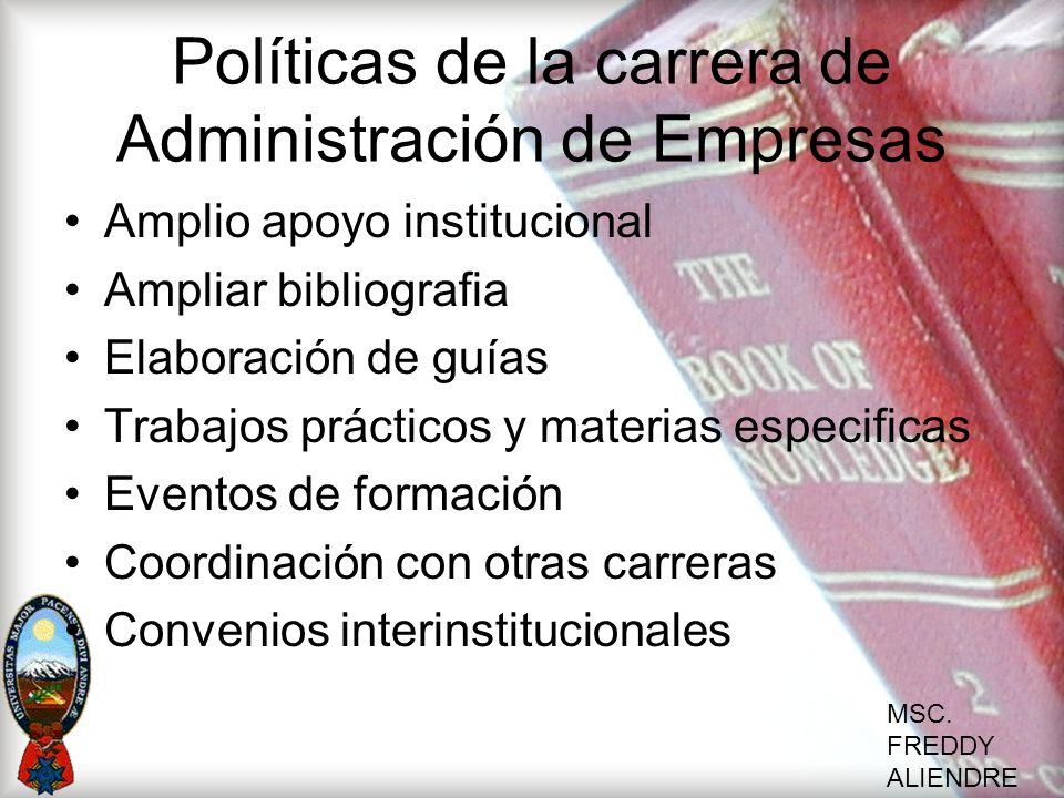 Políticas de la carrera de Administración de Empresas