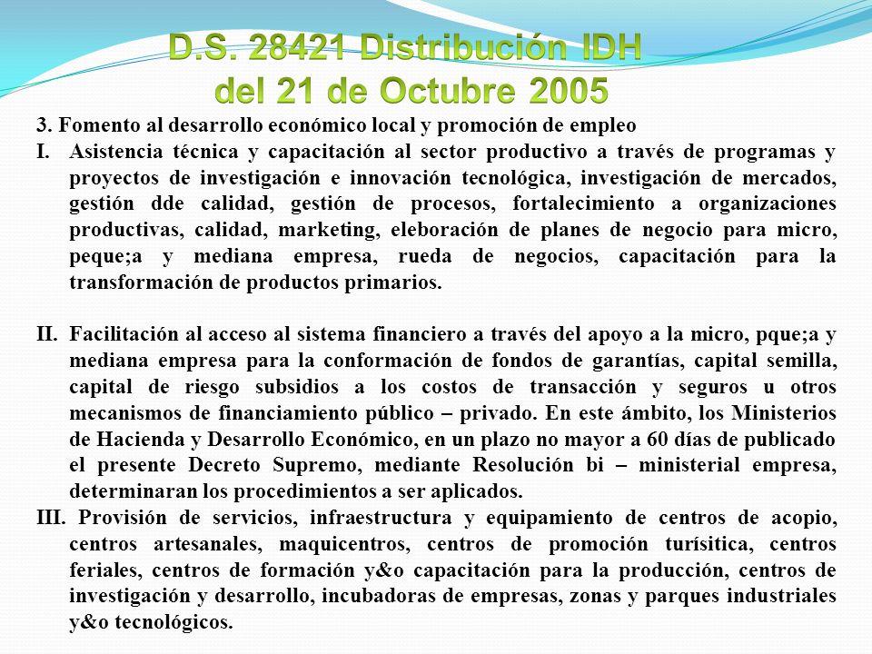 D.S. 28421 Distribución IDH del 21 de Octubre 2005