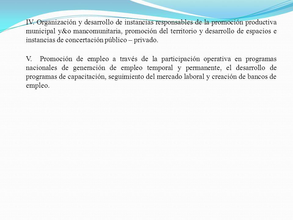 IV. Organización y desarrollo de instancias responsables de la promoción productiva municipal y&o mancomunitaria, promoción del territorio y desarrollo de espacios e instancias de concertación público – privado.