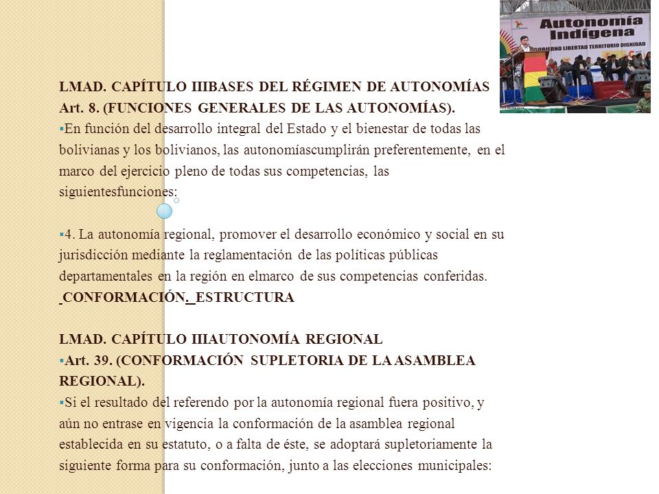 LMAD. CAPÍTULO IIIBASES DEL RÉGIMEN DE AUTONOMÍAS