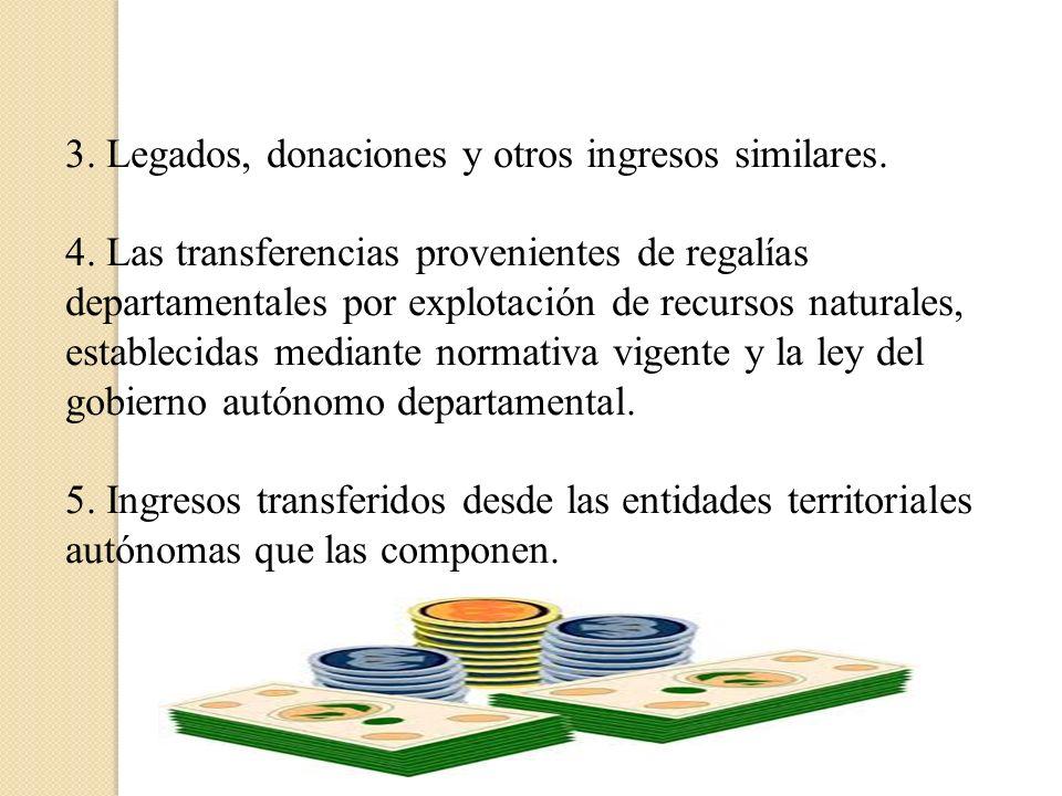 3. Legados, donaciones y otros ingresos similares.