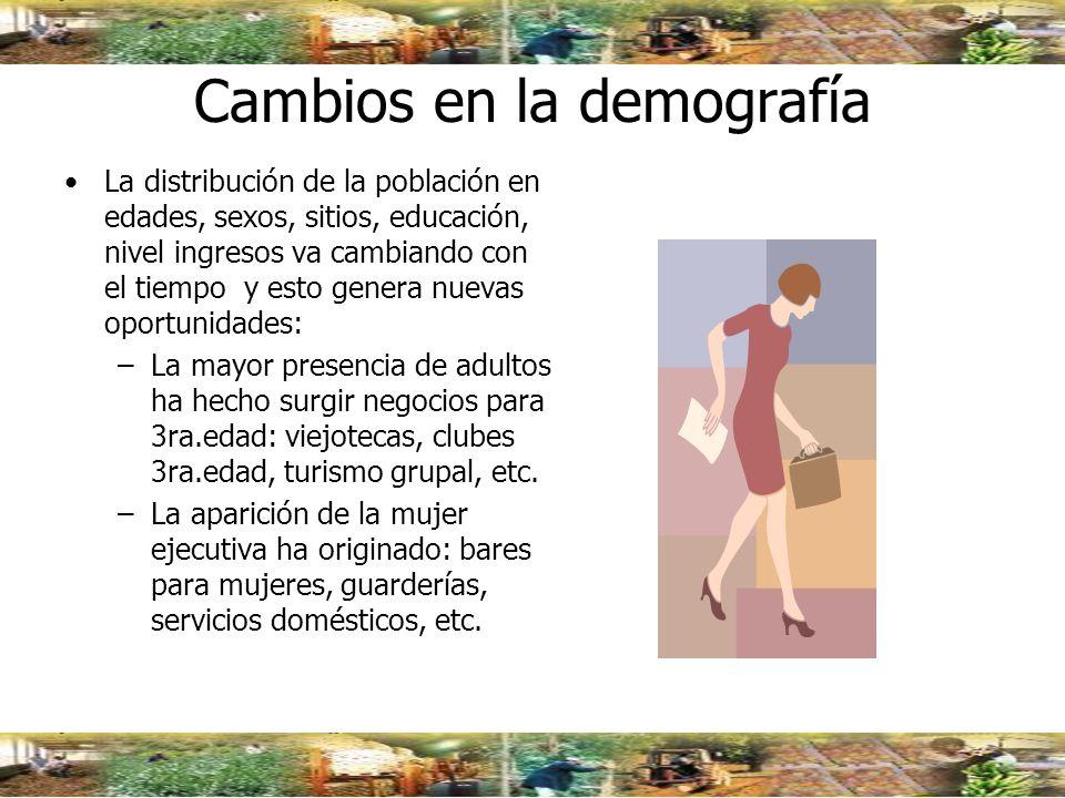 Cambios en la demografía