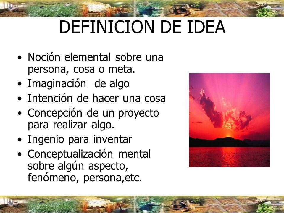 DEFINICION DE IDEA Noción elemental sobre una persona, cosa o meta.