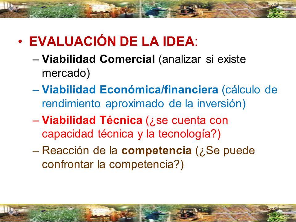 EVALUACIÓN DE LA IDEA:Viabilidad Comercial (analizar si existe mercado)