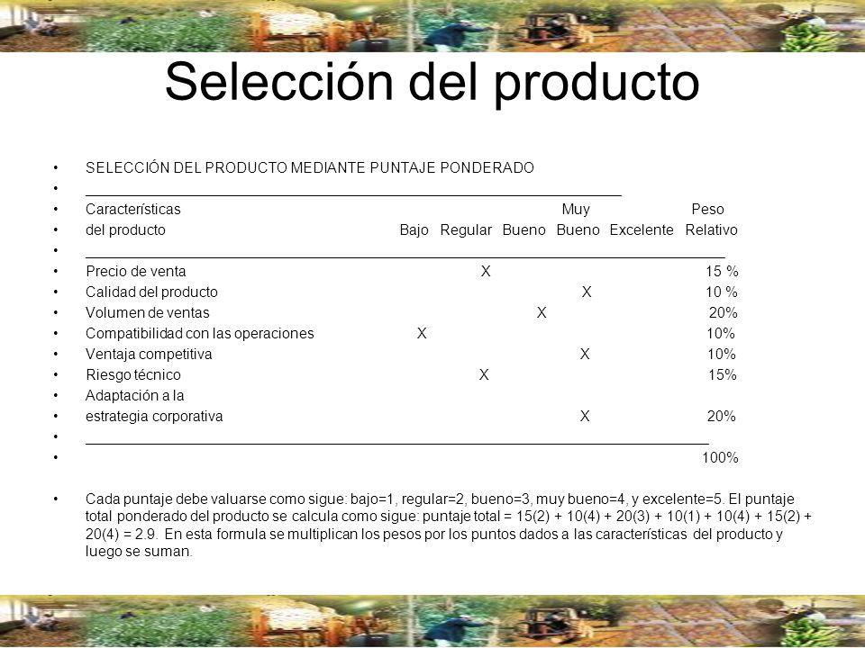Selección del producto