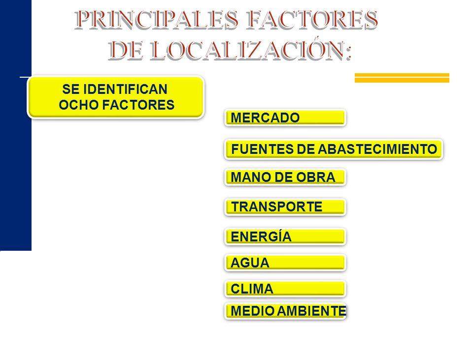 PRINCIPALES FACTORES DE LOCALIZACIÓN: SE IDENTIFICAN OCHO FACTORES