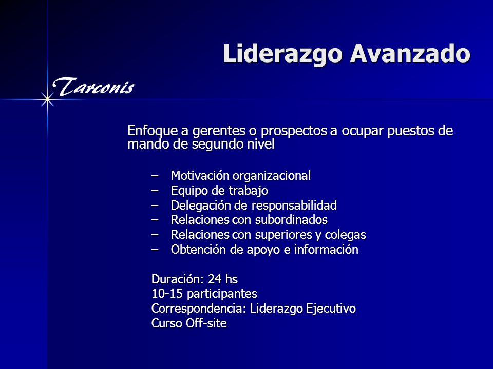Liderazgo Avanzado Enfoque a gerentes o prospectos a ocupar puestos de mando de segundo nivel. Motivación organizacional.