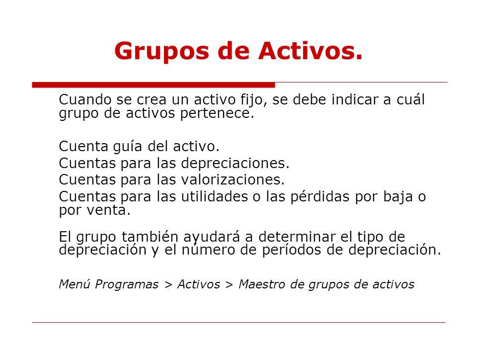 Grupos de Activos. Cuando se crea un activo fijo, se debe indicar a cuál grupo de activos pertenece.