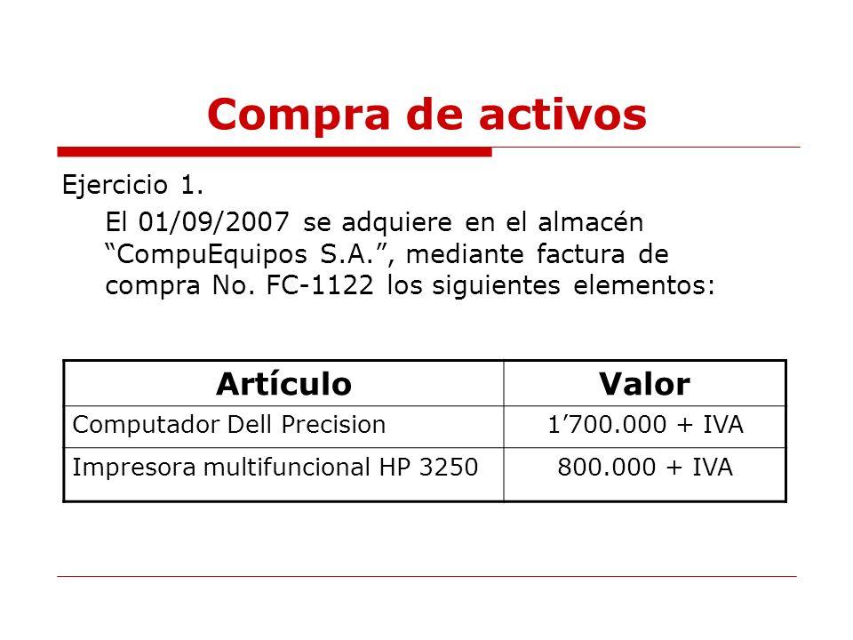 Compra de activos Artículo Valor Ejercicio 1.