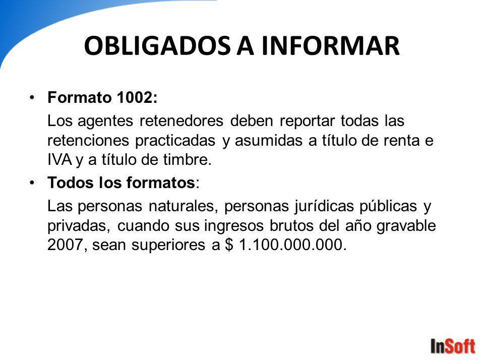 OBLIGADOS A INFORMAR Formato 1002: