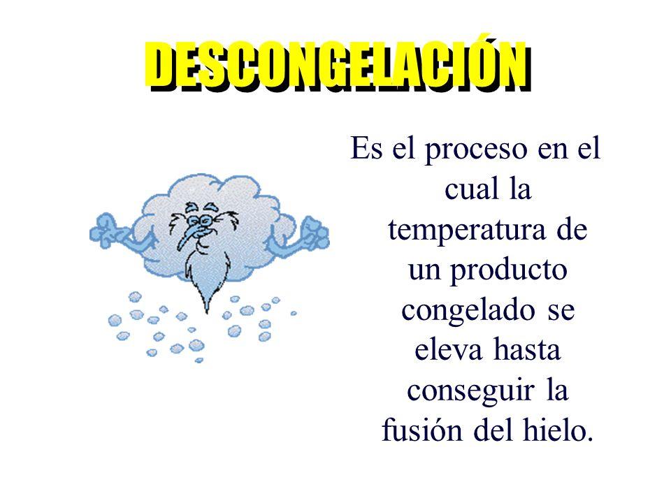 DESCONGELACIÓN Es el proceso en el cual la temperatura de un producto congelado se eleva hasta conseguir la fusión del hielo.