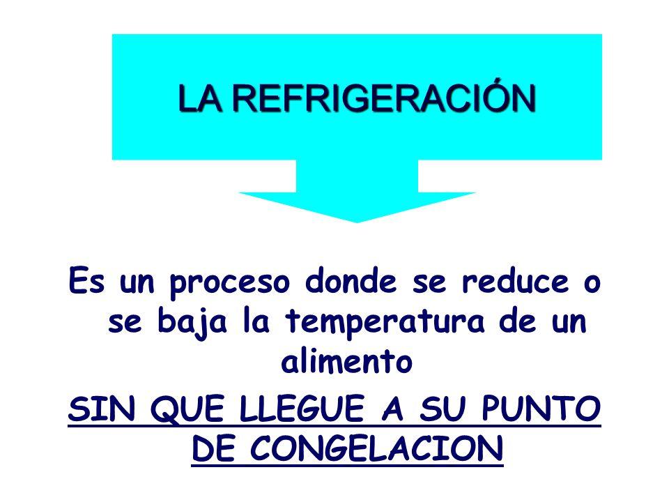 LA REFRIGERACIÓN Es un proceso donde se reduce o se baja la temperatura de un alimento.
