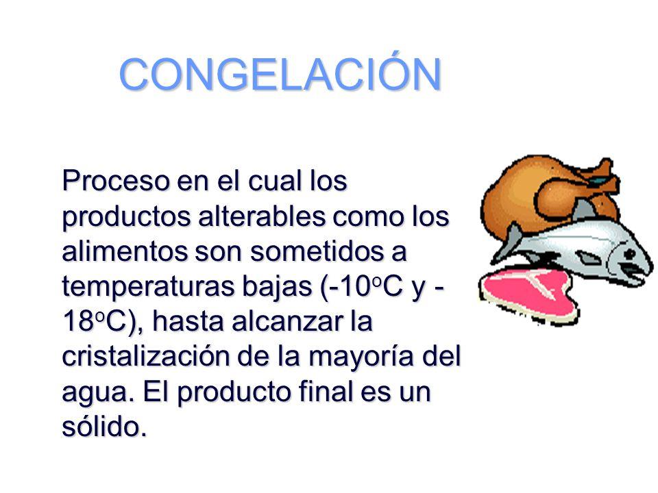 CONGELACIÓN Proceso en el cual los productos alterables como los alimentos son sometidos a temperaturas bajas (-10oC y -18oC), hasta alcanzar la.