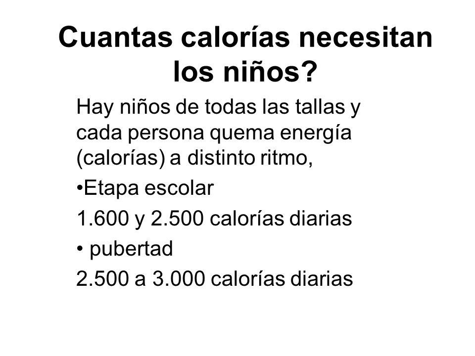 Cuantas calorías necesitan los niños